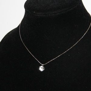 Vintage silver and CZ necklace 15""